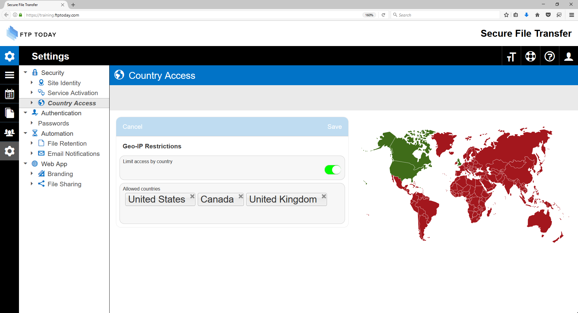 Country Access Restrictions